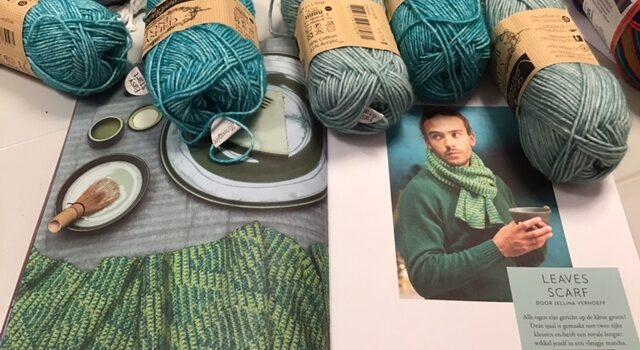 Katoenen sjaal met mozaiek motief